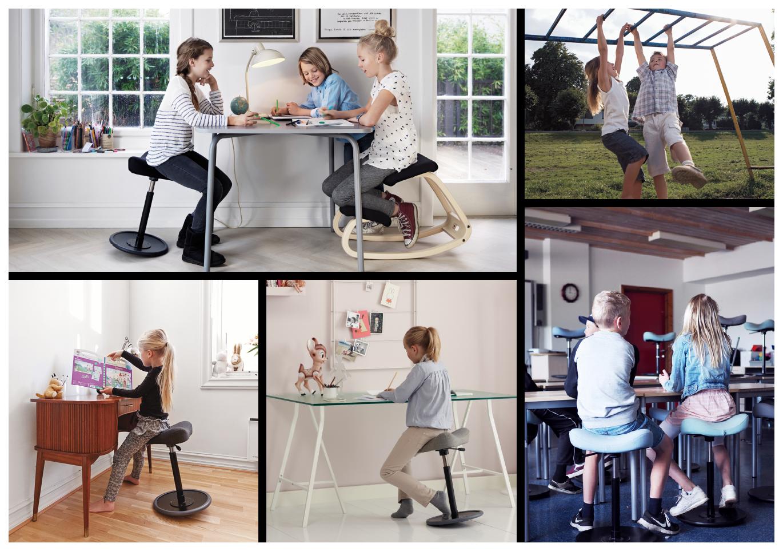 Bevegelige stoler fra Varier gjør det lettere å finne en sunn sittestilling.