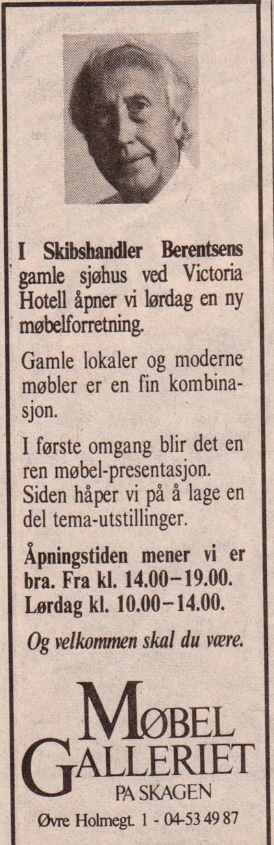 Møbelgalleriet,første annonse